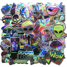 AQK 60Pcs/Lot Cool Motorcycle Laser Stickers Bomb Tide Brand ET Alien