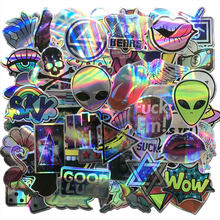AQK 60Pcs/Lot Cool Motorcycle Laser Stickers Bomb Tide Brand ET Alien Decals For