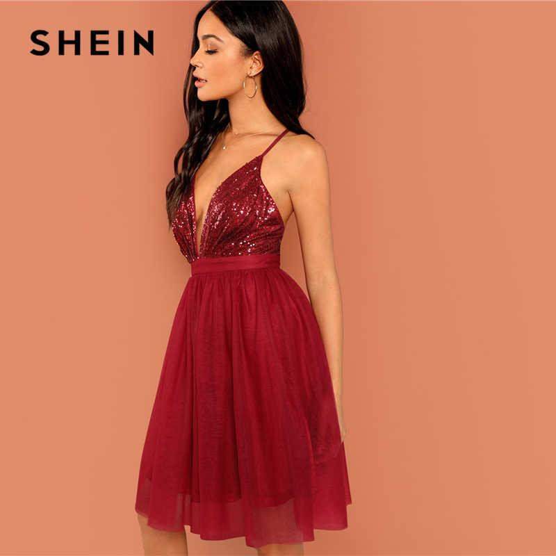 7679c9c1a0 ... SHEIN Burgundy Sexy Party Backless Sequin Detail Mesh Halter High Waist  Solid Dress 2018 Summer Club ...
