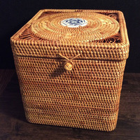 100 Handmade Storage Box Rattan Square Pu Er Tea Cake Box Mould Proof Tea Tin Jewelry