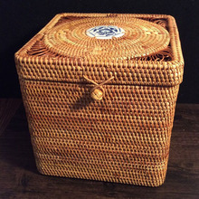 цена на 100% handmade Storage Box Rattan Square Pu 'er tea cake box mould proof tea tin jewelry boxes with lids food sundries organizer