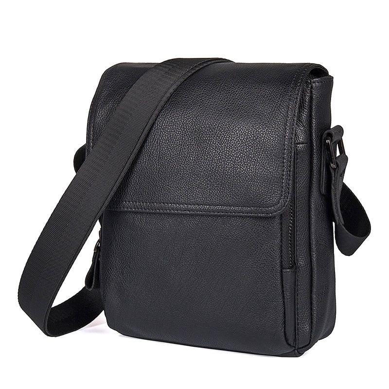 Nesitu High Quality Black Real Skin Genuine Leather Cowhide Cross Body Small Men Messenger Bags Male