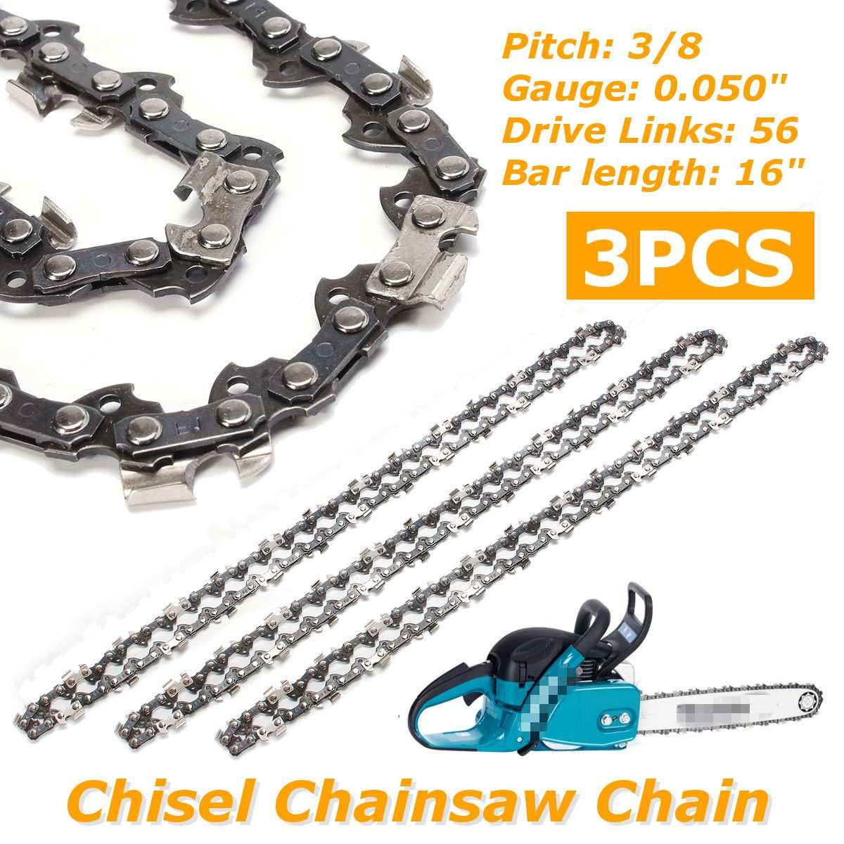 "3Pcs 16"" Bar Chainsaw Chain Semi Chisel 3/8 0.050"" 56 DL for Makita Chainsaw Structural alloy steel"