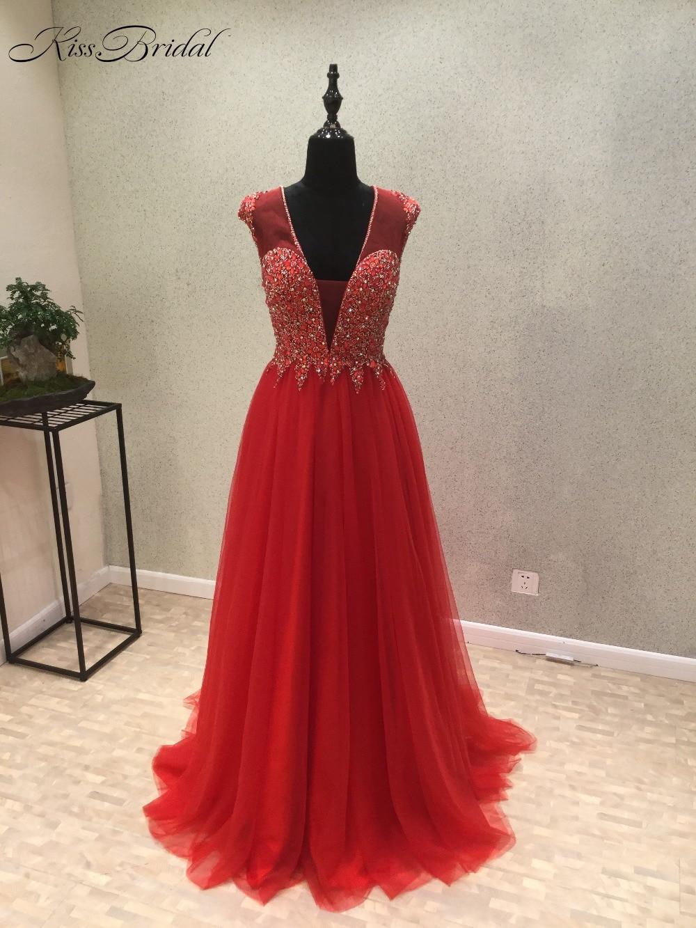 vestido de festa New Red   Prom     Dresses   2018 V-Neck Cap Sleeve A-Line Court Train Beading Chiffon Evening   Dress   vestido longo