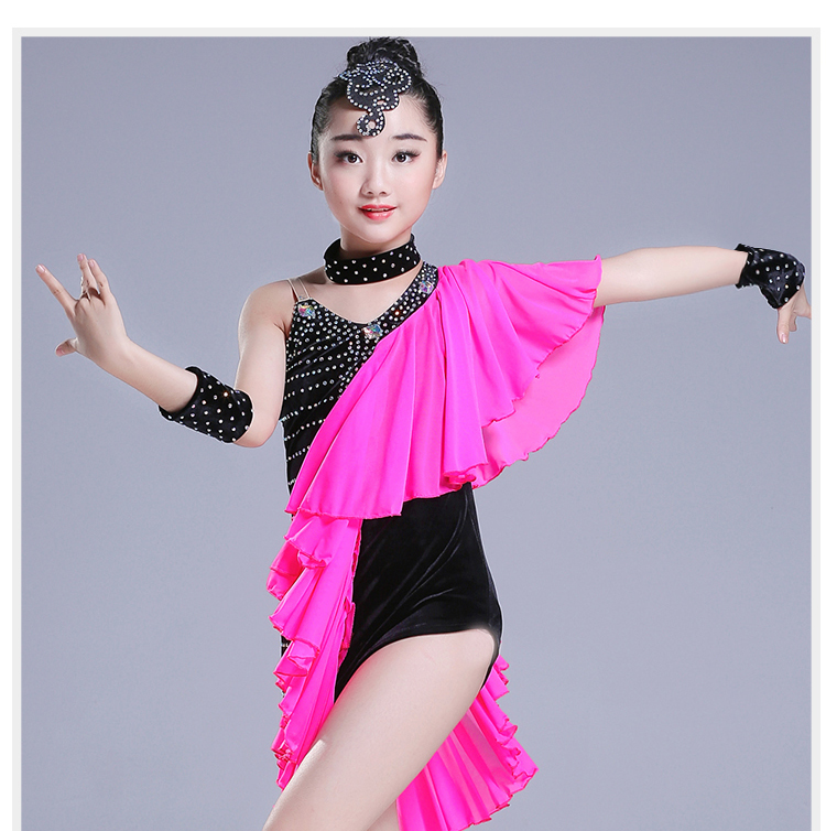 Ballroom Dancing Dresses Kids Sequin Latin Dance Dress Latin Dance Competition Costumes For Tango Rumba Modern Kids Ballroom