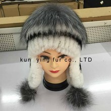 Silver fox of otter woven protective ear cap
