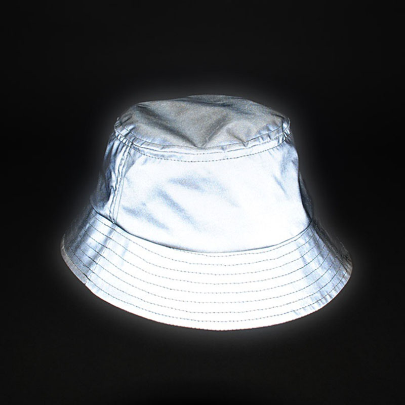 a64579c57 US $13.99 40% OFF|Aolamegs men women hip hop reflective bucket hat outdoor  sporting high visibility bucket hats unisex casual fishing hat cap-in Men's  ...