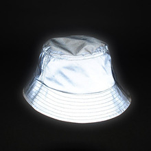 Aolamegs men women hip hop reflective bucket hat outdoor sporting high visibility bucket hats unisex casual fishing hat cap