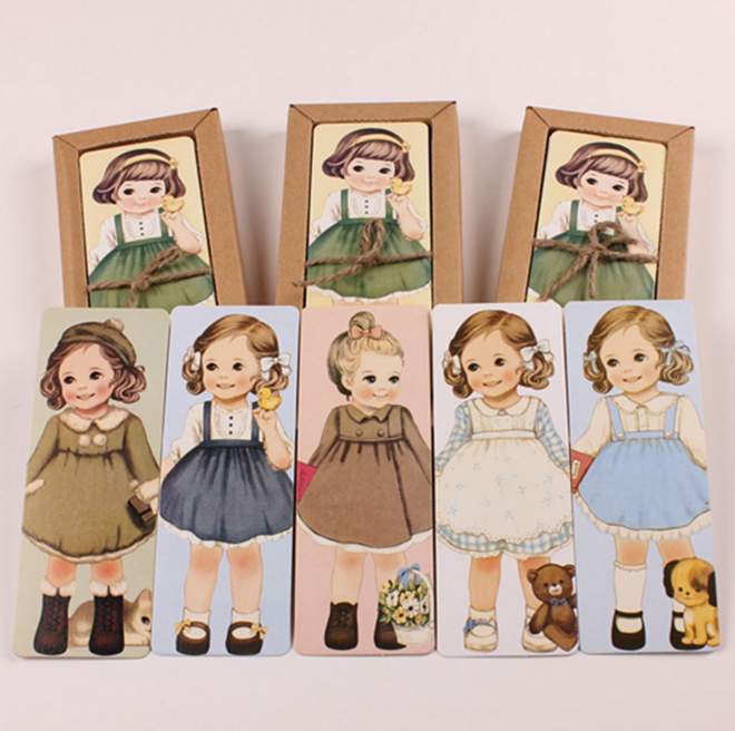30Pcs/pack Cute New Girl Doll Mate Series Bookmark Set With Kraft Package Paper Bookmarks Book Holder Message Card