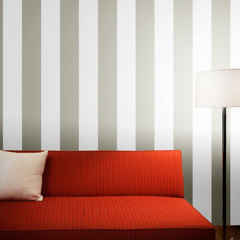 Metallic silver and white bold striped wallpaper modern for Silver wallpaper living room