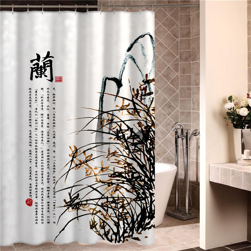 Chinese style Bathroom Curtain Waterproof Cloth Set Bathroom Curtain Thickened Mildew Curtain Hanging Curtain No Puncture