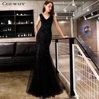 CEEWHY Sleeveless Black Evening Dress Arabic Sequin Mermaid Dress Evening Gown 2019 Prom Dresses Vestido Sexy Fiesta Noche
