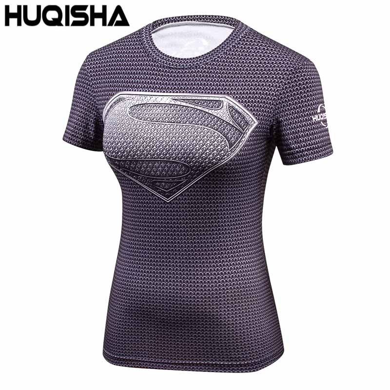 Sportlover Compression T Shirt Women Superhero Captain America/Spiderman/Batman Tops Quick-drying Tight Wear Woman