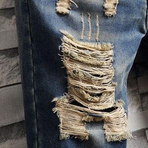 Image 4 - AIRGRACIAS Mens Ripped קצר ג ינס מותג בגדים ברמודה כותנה לנשימה מכנסי ג ינס קצרים זכר חדש אופנה גודל 28 40