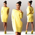 2016 new women's long sleeve with pocket hot solid thin section round neck knee-length dress sexy Slim new women