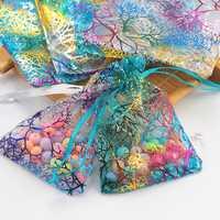 100 pcs/lot couleur mélangée 3 tailles Organza cadeau sac faveur emballage sac pour noël mariage cadeau emballage, bijoux emballage et affichage