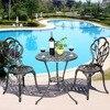 Goplus 1 Table 2 Chairs Set Cast Aluminum Patio Furniture Tulip Design Bistro Set Antique Copper