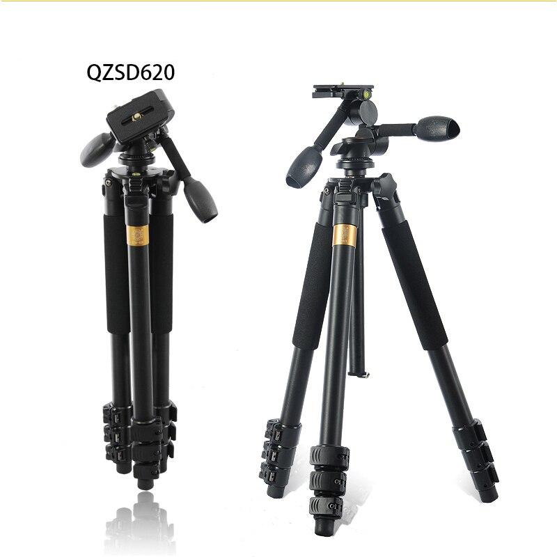 QZSD Q620 Professional Aluminum Alloy Flexible Portable Travel Tripod Head Ball Quick Release Plate SLR Aaction Camera Holder
