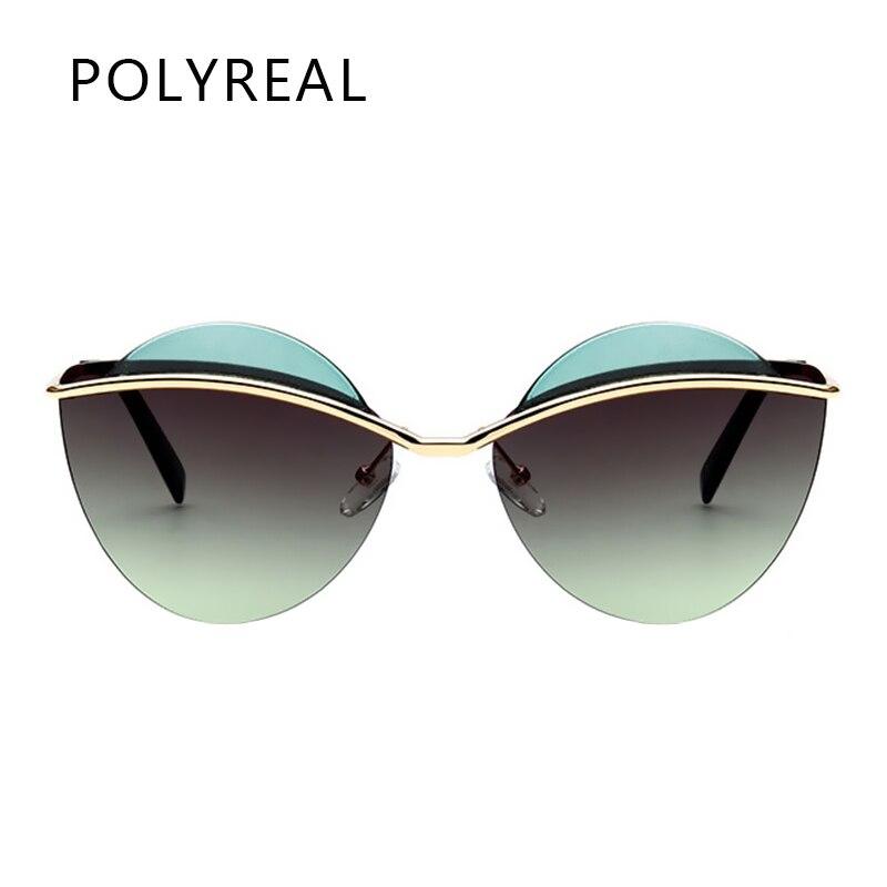 POLYREAL 2017 New Fashion Women Rimless Oval Sunglasses Brand Designer Vogue Female Mirror Shades Ladies Cat Eye Sun Glasses