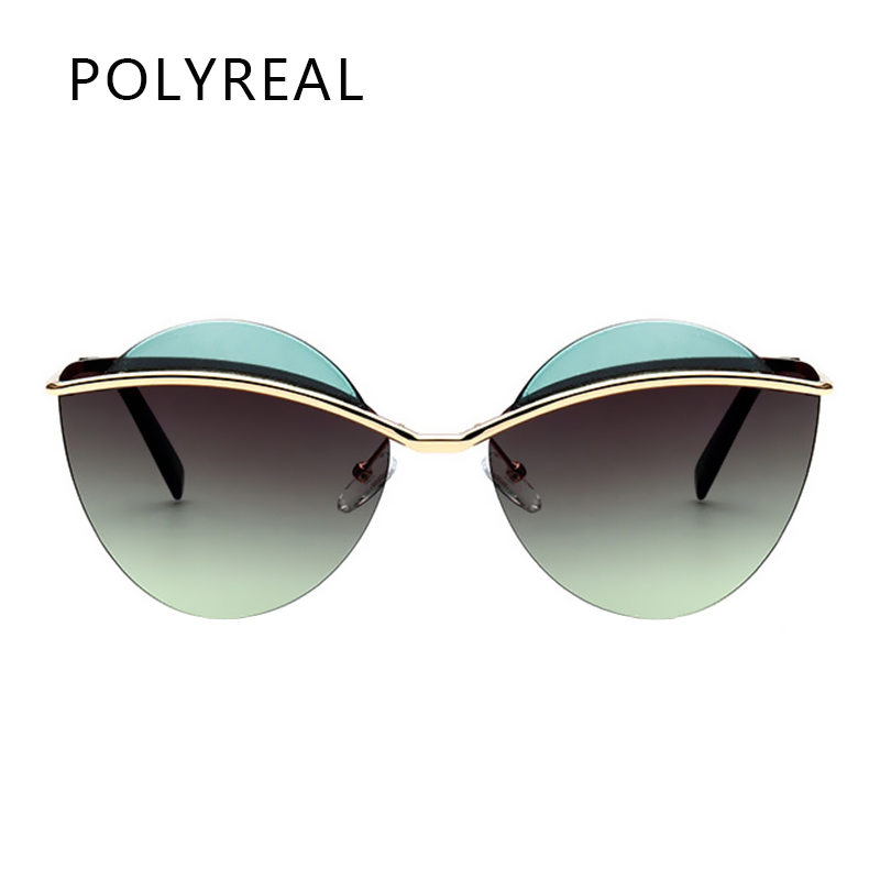 POLYREAL 2017 New Fashion Women Rimless Oval Sunglasses Brand Designer Vogue Female Mirror Shades Ladies Cat Eye Sun Glasses