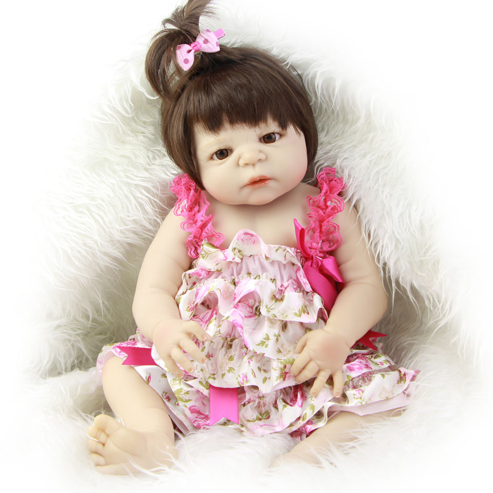 Full Silicone Waterproof Baby Dolls 23'' Girl Realistic Princess Reborn Dolls with Hair Bebe Alive Reborn Kids Playmates Gifts 23 russian silicone reborn baby girl full body vinyl dolls touch real baby dolls lifelike real hair new 2017 kids playmates