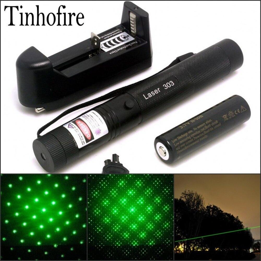 Tinhofire Laser 303 200 mW Grünen Laserpointer Einstellbare Brennweite und mit Sternchen-filter + 4000 mah 18650 batterie + ladegerät