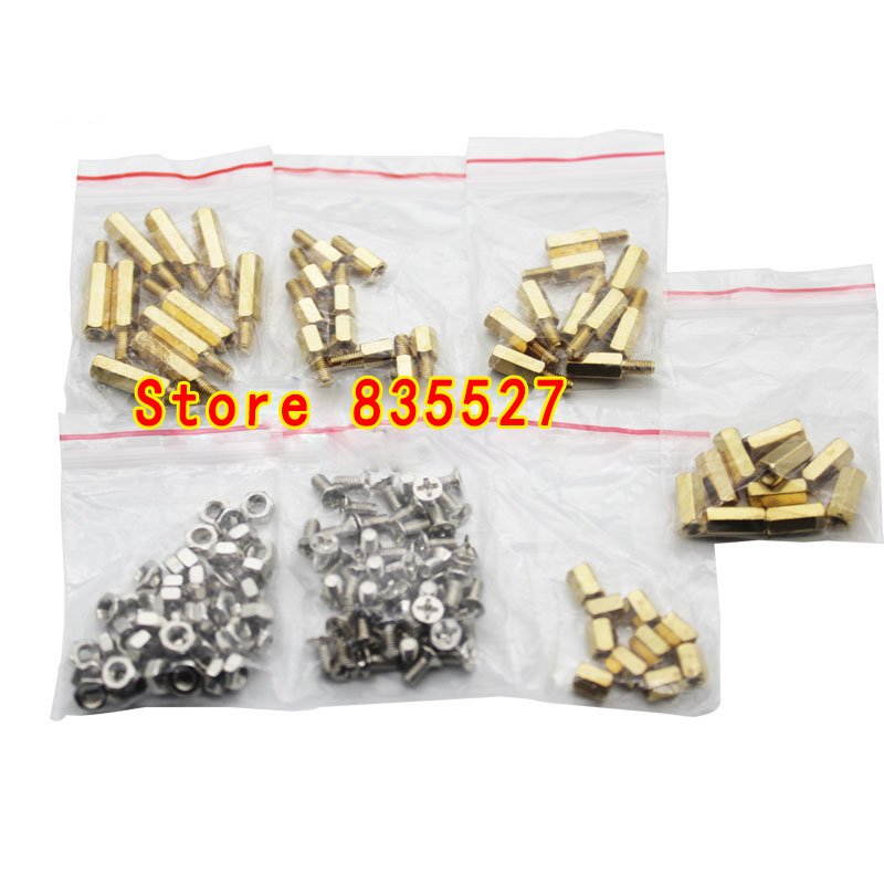 150pcs / Total Nut Screw Copper Pillars 6+6 10+6 15+6 M3 Nut 3*6 Screw 6MM Hollow 10MM Hollow DIY Repair Circuit Board Mm