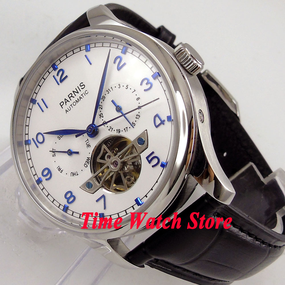 где купить Parnis watch 43mm White dial blue marks date week Automatic Self-Winding movement Men's watch men 902 дешево