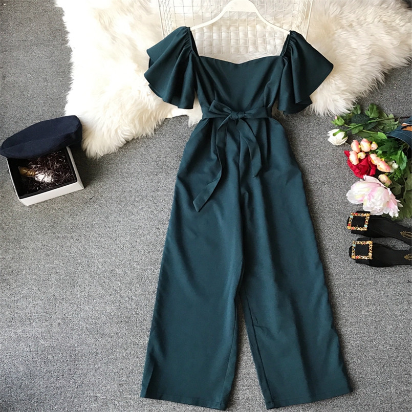 Fashion Solid Slim New Off Shoulder Jumpsuit Casual Sexy Women Bandage Playsuit Summer Long Full Length Overalls Vintage Romper 4