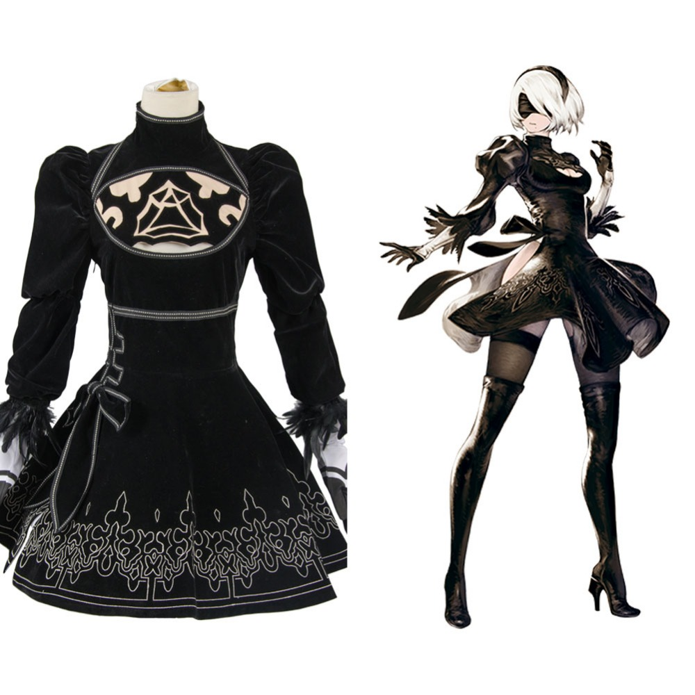 Original NieR:Automata 2B Cosplay Costume Adult Women Suit Uniform Dress For Halloween Party Full Set
