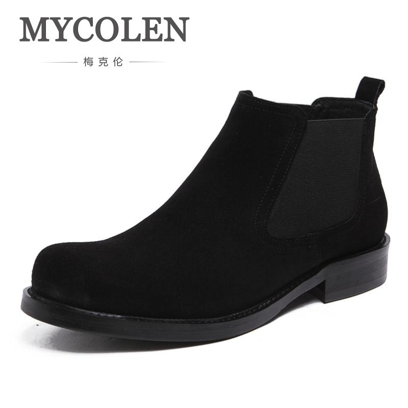 MYCOLEN 2018 Spring/Autumn Man Fashion Comfortable Shoes Leisure Slip-On Band Men Knight Boots Chaussures Hommes En Cuir