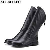 Hot Sale Thick Heel Genuine Leather Round Toe Women Martin Boots Fashion Brand Low Heeled Ankle