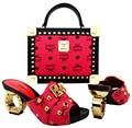 Sapatos italianos com sacos de Harmonização Para A festa de africano Sapatos E Bolsas para corresponder ao conjunto de senhoras de alta qualidade sapato e bolsa combinando MVL1-9