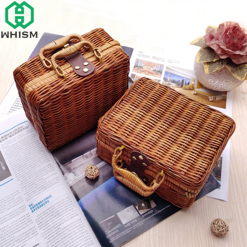 WHISM Travel Picnic Basket Handmade Wicker Storage Case Vintage Suitcase Props Box Weave Bamboo Boxes Outdoor Rattan Organizer