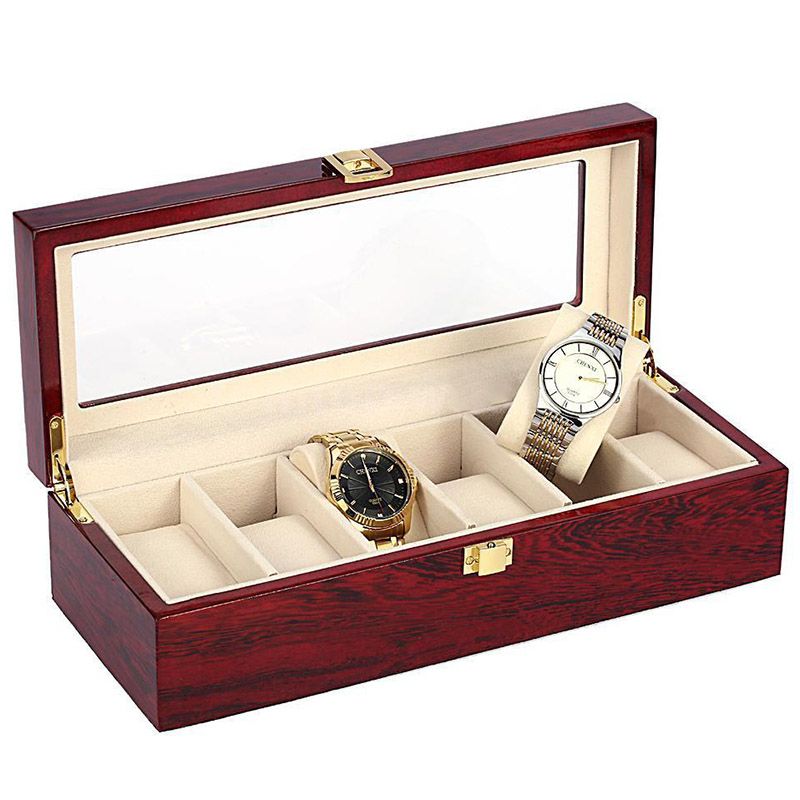 Image 3 - 6 Slots Red Color Wood Material Watch Boxes For Men or Shop Display Watches Practical Jewelry Watch Storage Organizer Cases-in Watch Boxes from Watches