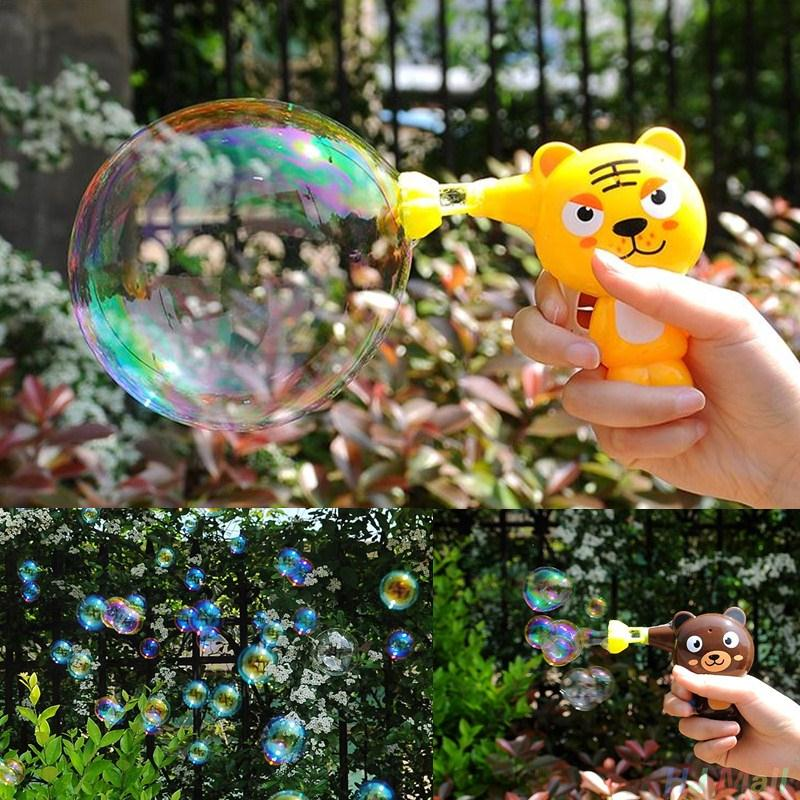 Cartoon Animal Model Soap Water Bubble Gun Machine Outdoor Toy Gift