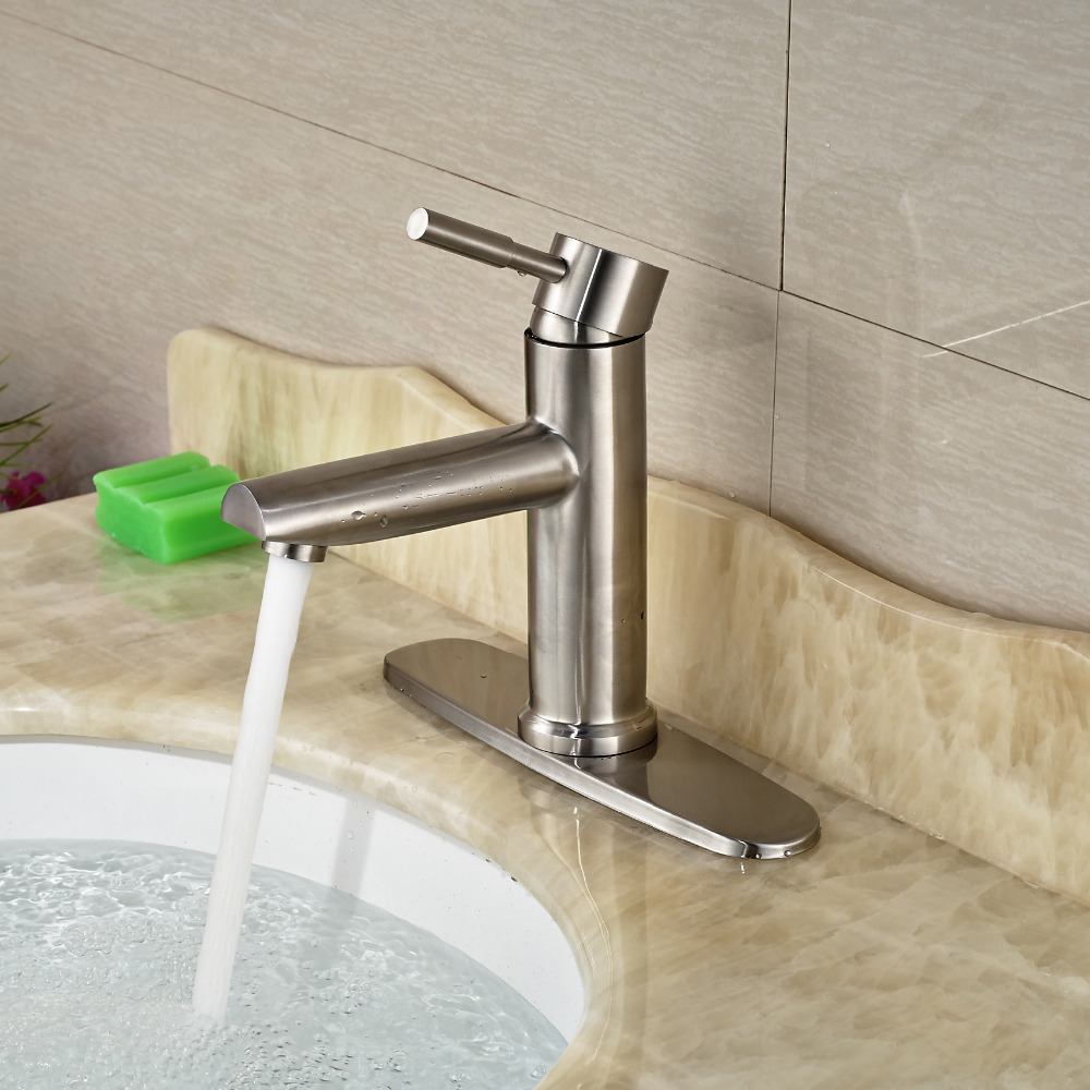 Aliexpress.com : Buy 8 Inches Hole Cover Countertop Sink Mixer Taps One  Hole Vessel Sink Bathroom Faucet Brushed Nickel From Reliable Bathroom  Faucets ...