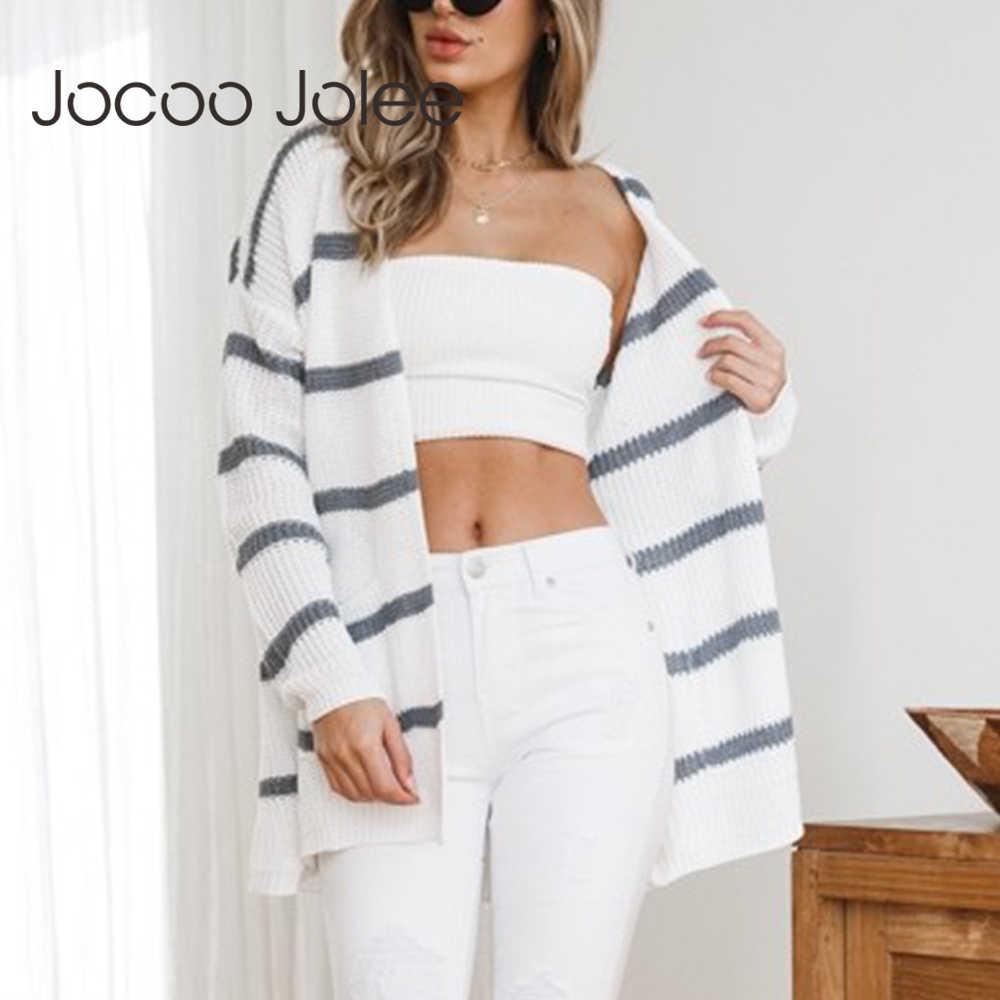 Jocoo Jolee 우아한 스트라이프 카디건 여성 2018 가을 겨울 신작 하라주쿠 니트 스웨터 여성 카디건 당겨 코트
