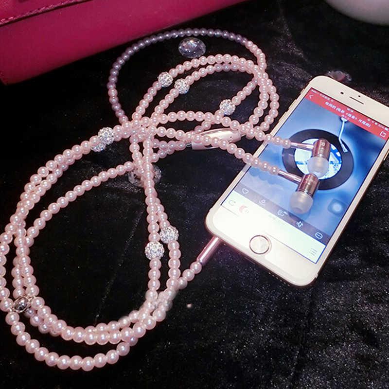 Nowy różowy stras biżuteria naszyjnik z pereł słuchawki z mikrofonem słuchawki douszne do iphone'a Xiaomi Brithday Gift