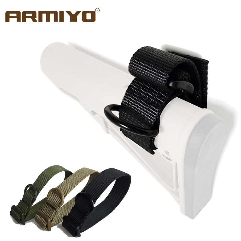 Armiyo Tactical Stock Strapping Belt Gun Sling Adapter Rifle Strap Shooting Accessories Black Tan Green Available