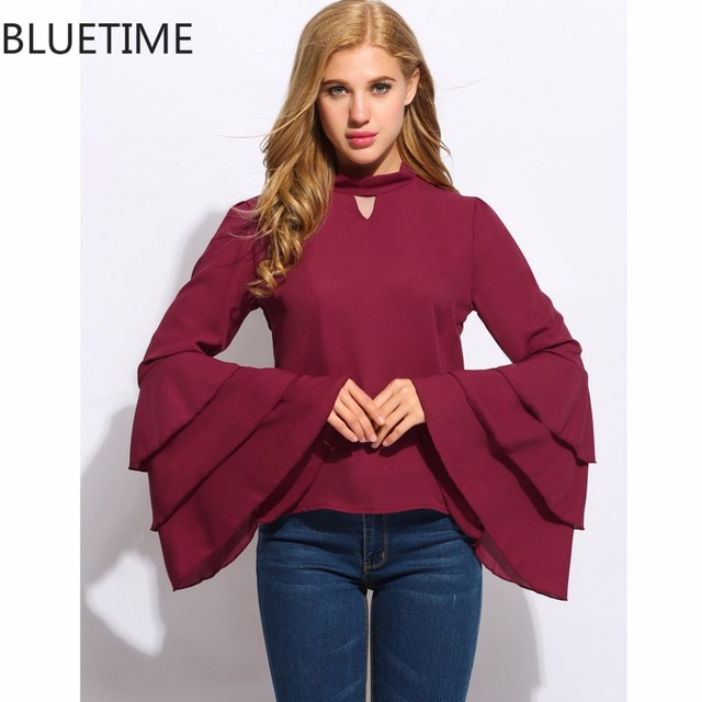 BLUETIME Long Sleeve Women Shirts Casual Flare Ruffles Sleeve Womens Tops Blouse Elegant Red Spring Female Blouse Blusas 20S