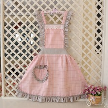Cute Cotton aprons Bib Apron Woman with pocket lovely lattice Coverall cleaning apron Girl princess kitchen cooking
