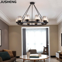JUSHENG Modern LED crystal chandelier E27 bulb 3/6/8/10 head retro hotel restaurant bedroom living room lighting wrought iron ho