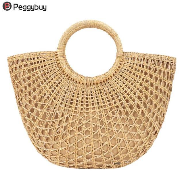 6799545a82537 2018 nuevas mujeres hechas a mano manija redonda paja bolsos Shopper bolsa  de playa verano paja