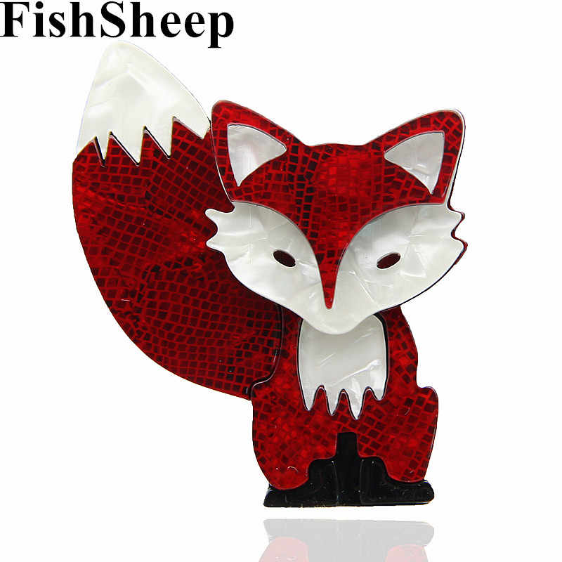 FishSheep 2 Colori New Acrilico Bella Fox Spille E Spilli In Fibra di Acetato di Stile Animale Spilla Per Le Donne Sciarpa Accessori Regali