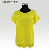 Silk Long Shirt 100 Mulberry Silk Crepe De Chine 2015 New Fashion Summer Style Desigual Women