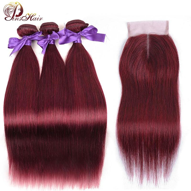 Pinshair Peruvian Hair Bundles With Closure Bold Red 99J Straight Hair 3 Bundles With Closure Burgundy