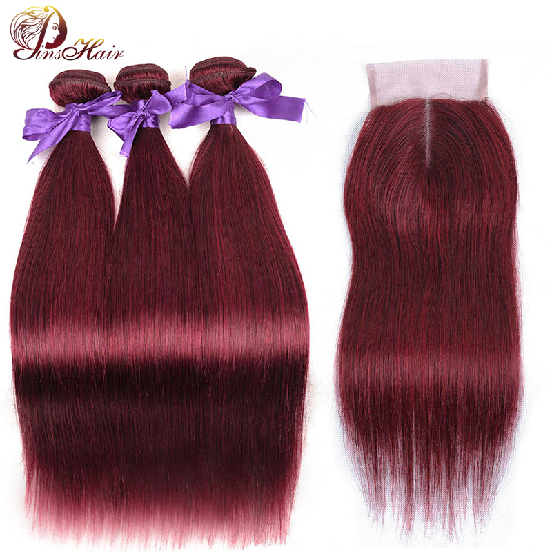 Pinshair Peruvian Hair Bundles With Closure Bold Red 99J Straight Hair 3 Bundles With Closure Burgundy Human Hair Weaves Nonremy