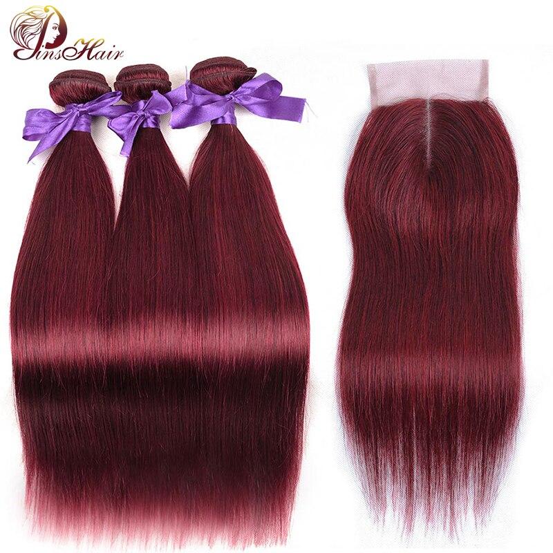 Pinshair Peruvian Hair Bundles With Closure Bold Red 99J Straight Hair 3 Bundles With Closure Burgundy Human Hair Weaves Nonremy
