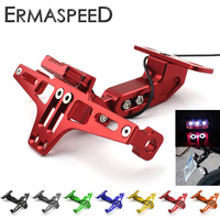 Universal CNC Aluminum Motorcycle Rear License Plate Mount Holder With White LED Light For Honda Kawasaki